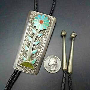 Vintage ZUNI Sterling Silver TURQUOISE CORAL SERPENTINE Flat Flush Inlay BOLO