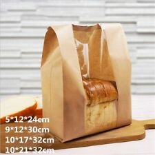 50pcs Kraft Paper Bag Bread Toast Package Clear Packing Bag Baking Party Supplie