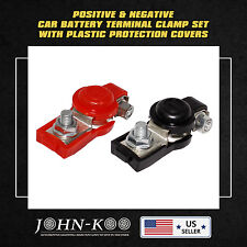 2PCS POSITIVE&NEGATIVE CAR BATTERY TERMINAL CLAMP RED BLK COVER FOR TOYOTA LEXUS