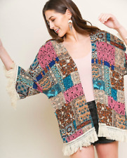 Paisley Mixed Patch Print Open Front Kimono with Fringe Trim