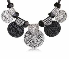 Trendy Chunky Jewellery~ Black and Silver Statement Faux Leather Necklace Chain