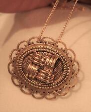 Handsome Loop Rim Textured Goldtne Lined Cross-Hatch Inset Pendant Necklace Pin