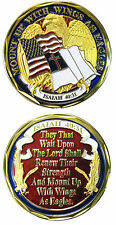 WINGS AS EAGLES Isaiah 40:31 Challenge Coin Token US & Christian Flag religious