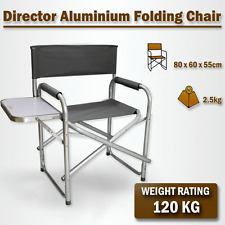 Directors Aluminium Folding Chair Camping Picnic Director Fishing Grey w/Table