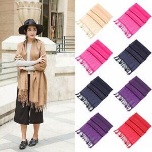 Women ladies winter warm PASHMINA cashmere solid long shawl wrap scarf