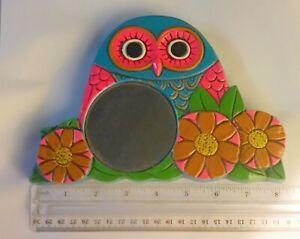 Mid-Century Modern 1970s Groovy Aqua Pink Orange Retro Owl Mirror Pride Japan
