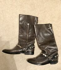 Pied A Terre Brown Buckled Calf Length Boots Leather Size EU38 UK 5.5-6 Studded