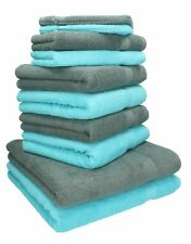 Betz Juego de 10 toallas PREMIUM 100% algodón de color gris antracita y turquesa