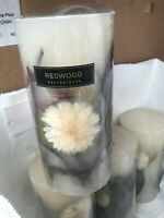 """Pottery Barn Redwood Candle Ivory Flowers 4""""X8"""" 80 Hrs NEW"""