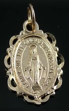 Brand New Solid 9ct Yellow Gold Oval Miraculous Medal Pendant