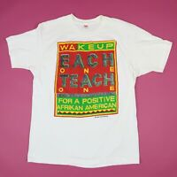 Vtg 80s Each One Teach One Afrikan American T-Shirt MEDIUM Stand For Something