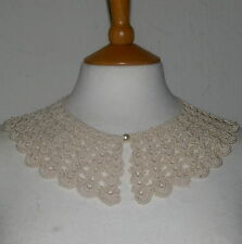 Hand Crochet crudo Victoriano/American Civil War/Eduardiano Collar Algodón (E)