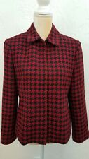 SAVILLE FOR NORSTROM WOMENS SZ 8 RED BLACK HOUNDSTOOTH BLAZER JACKET ZIP FRONT