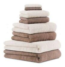 Set di 8 asciugamani da bagno DELUXE, colore: marrone moka e crema