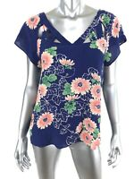 Maeve Anthropologie 6 Floral Lattice Detail Top Blue Pink Green Short Sleeve