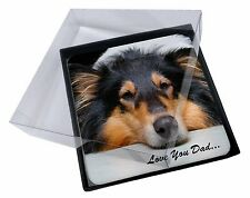 4x Rough Collie Dog 'Love You Dad' Picture Table Coasters Set in Gift B, DAD-91C