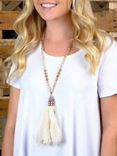 BOUTIQUE IVORY CREAM PEARL BEADED TASSEL LACE NECKLACE BY SOUTHERN JUNKIE