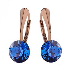 Sterling Silver Rose Gold Plated Earrings *Sapphire* Crystals from Swarovski®