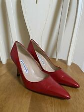 NIB Auth Manolo Blahnik Red Leather Pumps 39 / 9