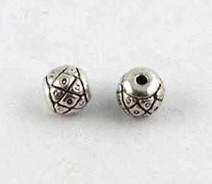 120 Tibetan Silver ornate drum spacer beads T8905