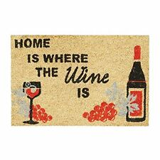 "Relaxdays ""Home Is Where the Wine Is"" Doormat Coir Floor Mat 40 x 60 cm with Ant"