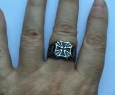 More details for german wwii silver military iron cross ring with silver or makers mark