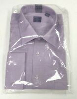 Mens Purple Classic Fit Solid Textured French Cuff Spread Collar Dress Shirt