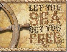 Sea Will Set You Free Humor Boat Capitan Ocean Summer Wall Decor Metal Tin Sign
