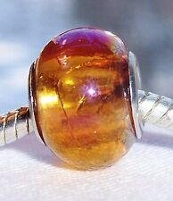 Amber Gold AB Iridescent Murano Glass Bead fits Silver European Charm Bracelets