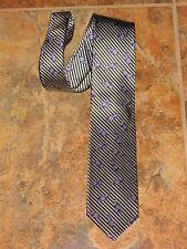 $98.XMI 100% Woven Silk Platinum Black Stripe Purple Paisley Luxury Tie