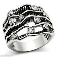 Nine Clear Round CZ Stones Silver Rhodium EP Ladies Cluster Ring