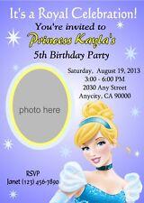 CINDERELLA PRINCESS CUSTOM PRINTABLE BIRTHDAY PARTY INVITATION & FREE TY CARD