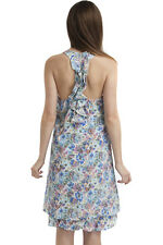 PRETTY PASTELS FLORAL PRINT PINAFORE DRESS WITH RACER BACK SIZE 14-16