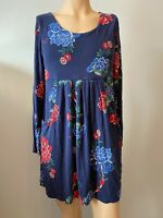 Joules Dress Tunic Top UK Size 14 Womens Ladies Navy Blue Floral Pockets Autumn