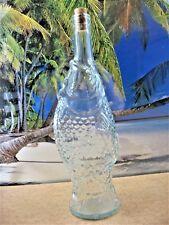 FISH SHAPED TALL AQUA GREEN GLASS FIGURAL DECORATIVE CORK STYLE  BOTTLE
