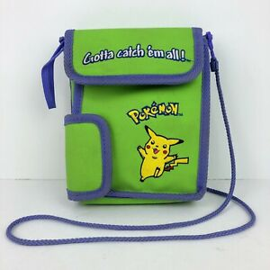 "Pokemon ""Gotta Catch 'em All!"" Nintendo Gameboy Green Purple Carrying Case Bag"