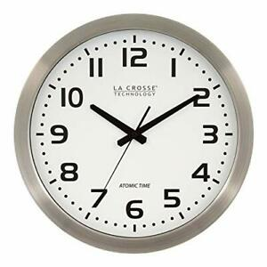 """La Crosse Technology 16 Inch Stainless Steel Atomic Clock - White Dial 16"""" Metal"""