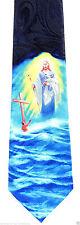 Jesus Lamb of God Men's Neck Tie Religious Cross Christian Faith Blue Necktie