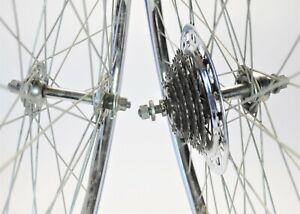 "VINTAGE STEEL FEMCO SUNTOUR 5 SPEED BOLT-ON ROAD BICYCLE 27"" WHEELS SET 126 MM"