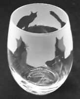 MAINE COON CAT Frieze Boxed 36cl Crystal Stemless Wine / Water Glass