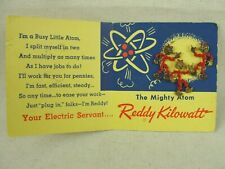 Vintage 1953 Reddy Kilowatt Earrings & Lapel Pin On Mighty Atom Original Card