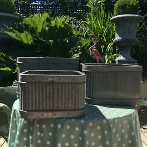 A Set of 3 Ribbed Galvanized Garden Terrace Patio Tub Planters Great Quality
