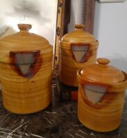 """Set Of 3 Sango Splash Pottery Canisters Tan Brown 10.5"""" 9.5"""" 7.5"""""""