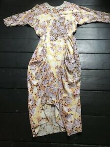 vintage 80's Floral Flowers Lace Fitted Wiggle Spring Midi Day Dress