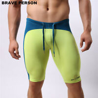 Men Swimwear Swimming Trunks Shorts Elastic Tight Long Swimsuit Jammers