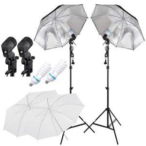 2x Lighting Kit Photography Studio Tripod & Reflective Umbrella &Light Stand Set