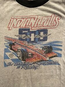 Vintage 80s Indianapolis 500 Ringer Screen Stars Shirt 1985 Indy500 USA YOUTH L