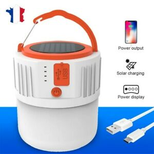Lampe de camping solaire télécommande LED Lampe de tente rechargeable USB