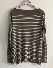 Vince Striped Pullober Boatneck Long Sleeve Sweater Linen Taupe Loose Size M