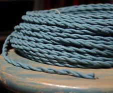 Schiefer Blau Verdreht Tuch Bedeckt Draht, Vintage Farbe Lampe Kordel, Antik